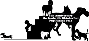 Logo for Annual Pup Parade Tshirt - black silhouettes of dogs on white background with text that reads 10th Anniversary the Nashville Oktoberfest Pup Parade 2018